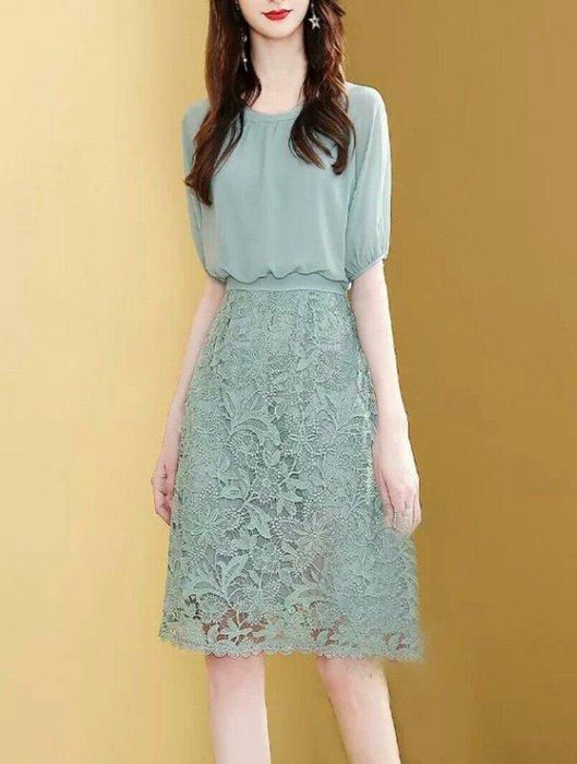 歐美 專櫃款 短袖 蕾絲 洋裝 法式 連身裙 雪紡 透氣 舒適 修身 顯瘦 Me Gusta
