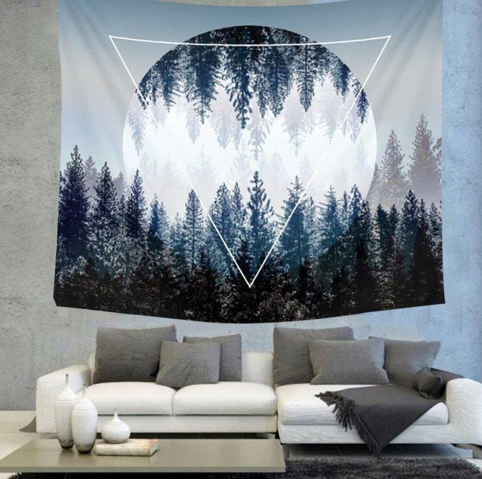 風景掛布-森林背景布掛毯掛畫北歐風格簡約裝飾布臥室書房客廳牆壁裝飾(130*150cm)_☆找好物FINDGOODS☆