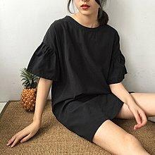 Jomi日系 韓風氣質 復古甜美圓領寬鬆喇叭袖純色青年布連身裙*3色預購【JM09-311093】