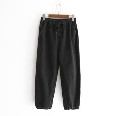 牛仔 褲 休閒 長褲-時尚抽繩鬆緊腰束腳女褲子2色73tq4[獨家進口][米蘭精品]