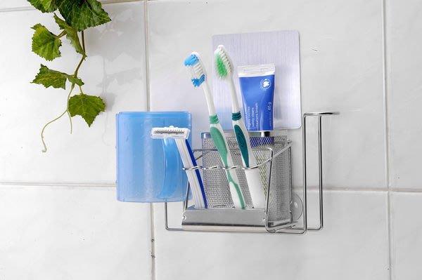 ☆成志金屬☆SA-8T 免鑽孔強力無痕貼掛304不鏽鋼雙杯牙刷架,可置兩杯,置物架、牙刷籃