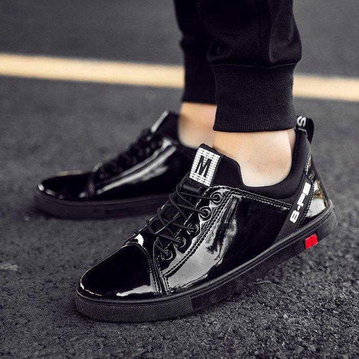 春季潮鞋韓版潮流漆皮男鞋亮面板鞋休閑鏡面學生潮鞋社會小伙鞋子