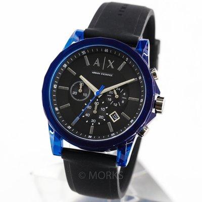 現貨 可自取 ARMANI AX AX1339 亞曼尼 手錶 44mm 三眼計時 黑面盤 黑色橡膠錶帶 計時 男錶女錶