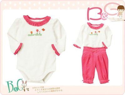 【B& G童裝】正品美國進口GYMBOREE Adorable Ruffle釦子花裝飾長袖連身衣6-12mos