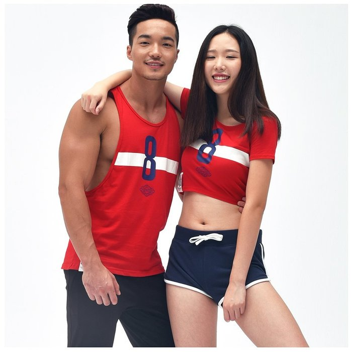 【OTOKO Men's Boutique】固制:純棉開衩挖背運動背心/紅色