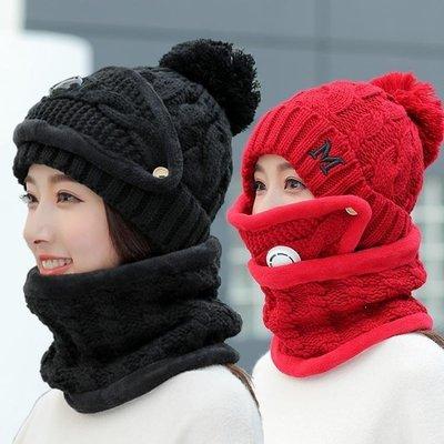 YEAHSHOP 毛帽 帽子女冬天韓版加絨騎車防凍保暖毛線帽加厚圍脖護耳帽學生針織帽592522Y185