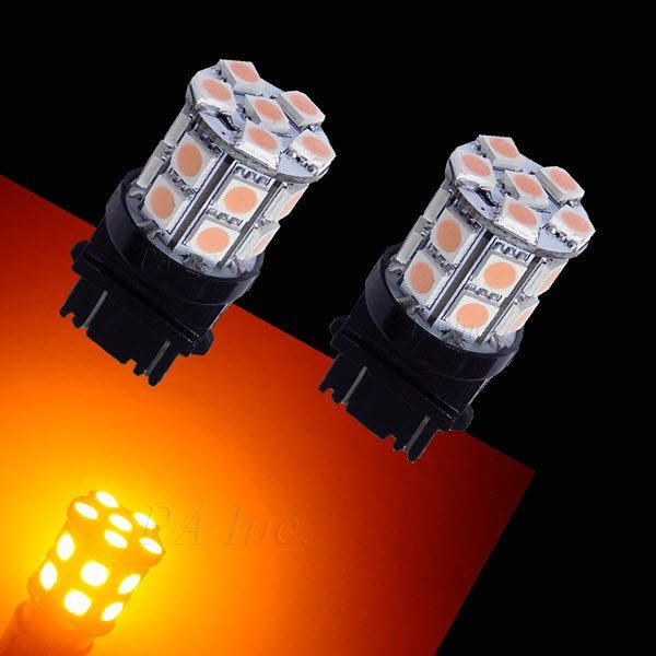 【PA LED】3157 雙芯 20晶 60晶體 SMD LED 黃光 360度發光 後燈 煞車燈 方向燈