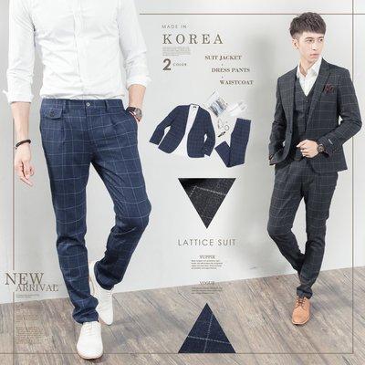 。SW。【K31182】免運 正韓K.V 韓國製 修身顯瘦 質感西裝布 窄版 雅痞紳士 格紋 成套西裝 英倫 GD