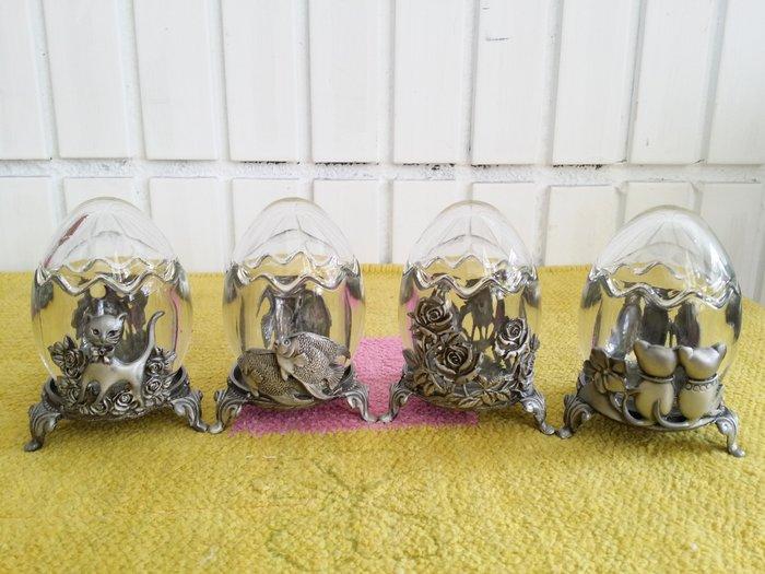 蘇菲亞精品傢飾~外銷歐美多用途玻璃罐三角蛋型玫瑰/貓頭鷹/牙籤罐/棉花球置物盒/小聚寶盆