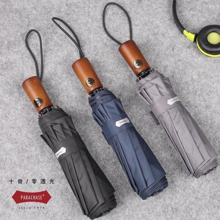 日本十骨商務防風全自動晴雨傘三折疊男防曬防紫外線加固遮陽傘女