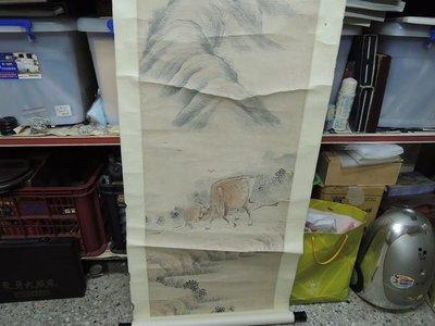 【練家字畫店~名家書畫收購】奎照 ,(西園)清朝(牛),水墨畫作品