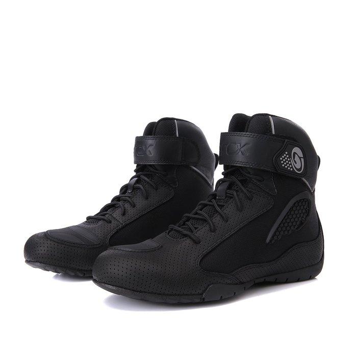 【購物百分百】雅酷士2019新款騎行鞋 黑色牛皮沖孔防摔騎行鞋 黑色男女
