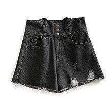 【木風小舖】腰間M造型 排釦刷破 下毛邊高腰牛仔短褲*混色黑