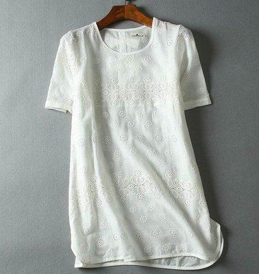 【An Ju Shop】日系森女文藝範 短袖鏤空 棉布刺繡蝴蝶結中長款短袖套頭棉質襯衫上衣~OI112908