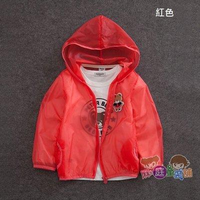 ❤厤庭童裝舖❤最後一件【D000】男女童可愛小熊徽章糖果色連帽薄外套(140CM)