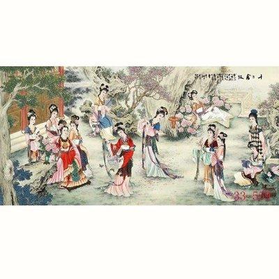 【人物畫】國畫人物畫十二金釵字畫客廳辦公室酒店茶樓中式裝飾畫(絹本畫芯可以貼墻上)