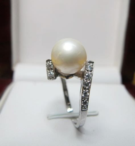 [一品軒庫存促銷品]正圓天然完美無暇南洋珍珠9-10MM3A+級造型戒指
