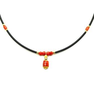 天然沙丁紅珊瑚 自然枝 隨形 輕珠寶項鍊 附保證書【大千珠寶】