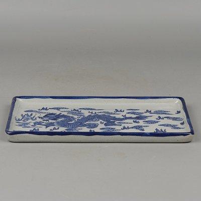 ㊣姥姥的寶藏㊣大清乾隆年制款貼畫青花雲龍紋長方形茶盤