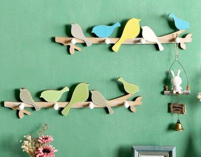 【喬喬本舖】美式玄關衣帽架 鑰匙圈 創意鳥造型木質掛衣架 牆面裝飾 壁掛