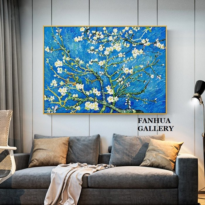 C - R - A - Z - Y - T - O - W - N 純手繪立體筆觸油畫印象派梵谷盛開的杏花藝術油畫設計師款裝飾畫商空美學空間高檔手繪油畫收藏掛畫