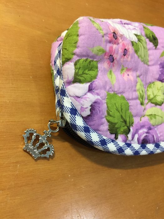 典雅紫玫瑰手工製零錢包(大)/特規版/全館3個免運費