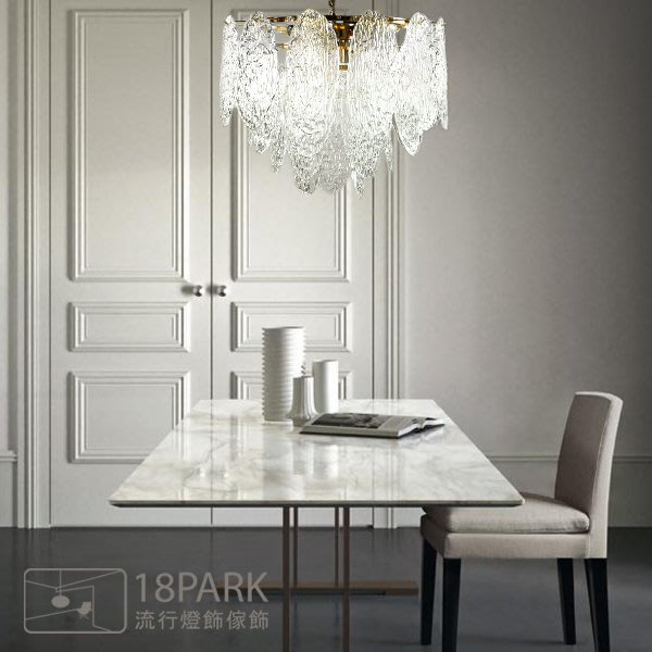 【18Park 】玻璃金屬 Snow crystal chandelier [ 雪晶靈吊燈-60cm ]
