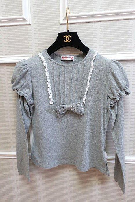 *Beauty*WHY &1/2女童灰色假兩件式蝴蝶結T恤  15  號 400  元GR