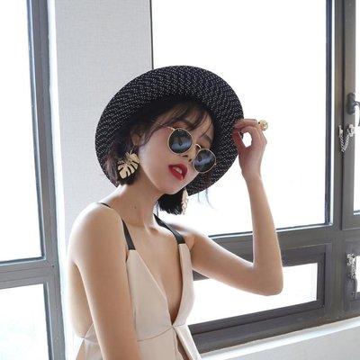 ✿全館免運✿黑色沙灘帽子草帽女夏天英倫禮帽