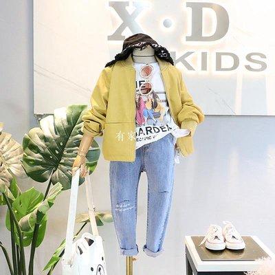 有家服飾品牌童裝2019春裝新品女童洋氣好版型短款棒球式皮衣外套開衫