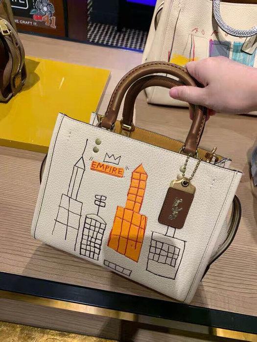 小皮美國代購 COACH 6887 新款女士手提包 方形包 簡約線條趣味塗鴉肩背包 附購證
