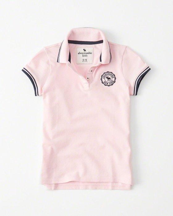 Maple麋鹿小舖 abercrombie&fitch * a&f 女童款粉色電繡麋鹿POLO衫*(現貨15/16號)