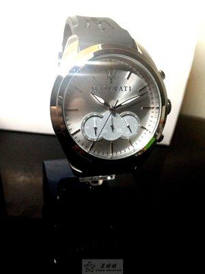 請支持正貨,瑪莎拉蒂手錶MASERATI手錶TRAGUARDO款,編號:R8871612012,銀色錶面黑色皮革錶帶款
