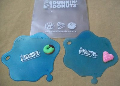 全新 Dunkin' Donuts 立體甜甜圈 藍色軟膠杯墊 台北市