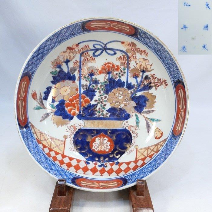 日本 明治 青花紅彩 大缸