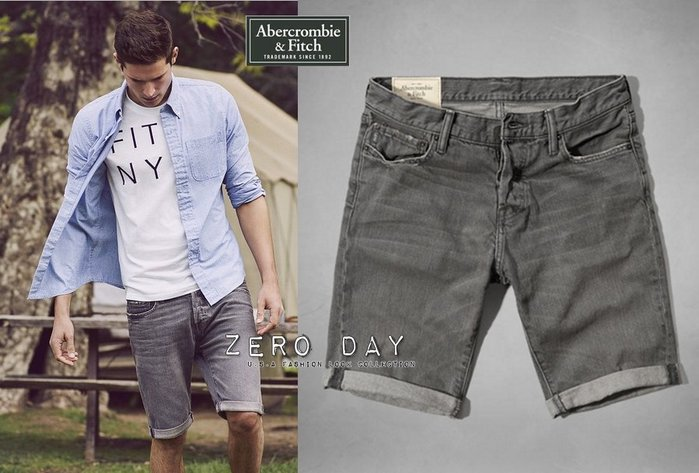 【零時差美國】A&F Abercrombie&Fitch Classic Fit Denim Shorts牛仔短褲-灰色