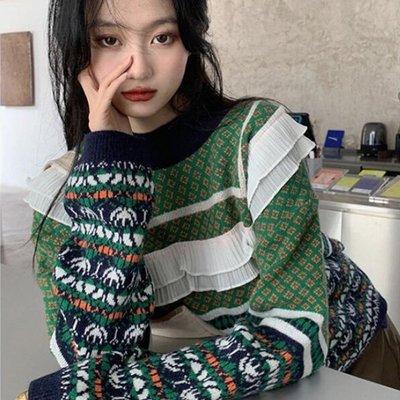 長袖針織衫 設計款復古秋叉雪紡滾邊針織併色上衣 艾爾莎【TAE8669】