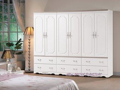 【N D Furniture】台南在地家具-法式宮廷鄉村風半實木防黃烤漆白色8.1尺收納衣櫥MC
