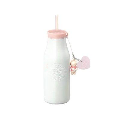 韓國星巴克 2019年情人節 粉色愛心小熊 馬克杯玻璃杯吸管保溫杯