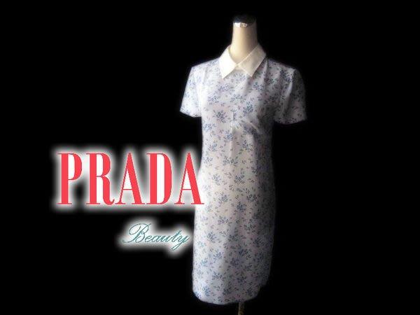 *Beauty*PRADA粉藍色碎花白領洋裝 38號 WE14