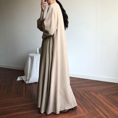 SeyeS {韓國空運} 復古森林古著自然風V領開扣長版落地寬鬆綁帶洋裝