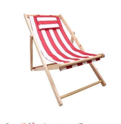 沙灘椅折疊躺椅實木牛津帆布椅躺椅靠椅戶外便攜午休木質躺椅YS