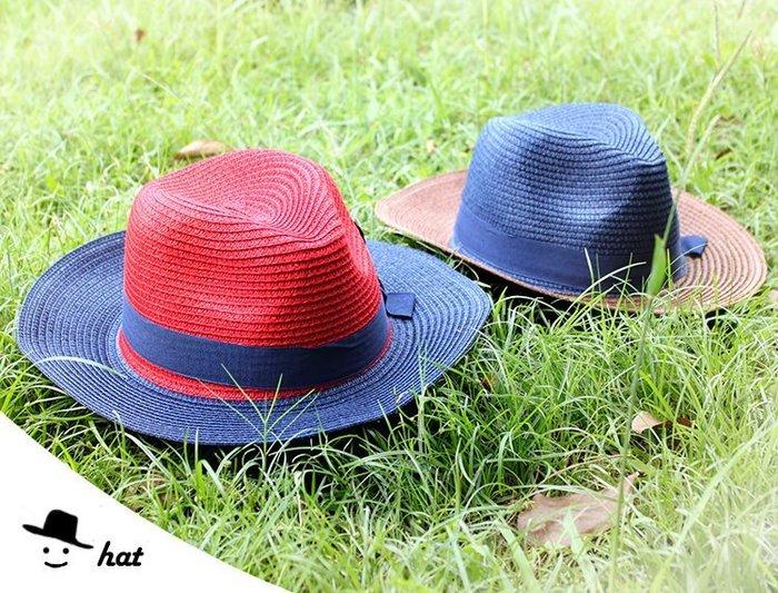 帽子【FSS006】夏日綁帶遮陽防曬編織 紳士帽 紳士 陽光 遮陽 配件 洋裝-收納女王