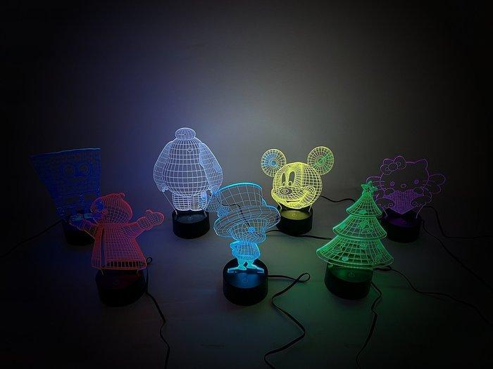 ☆LED小夜燈☆3D視覺設計氣氛燈。7色變化8種模式 可愛卡通3D圖樣 聖誕禮物 交換禮物