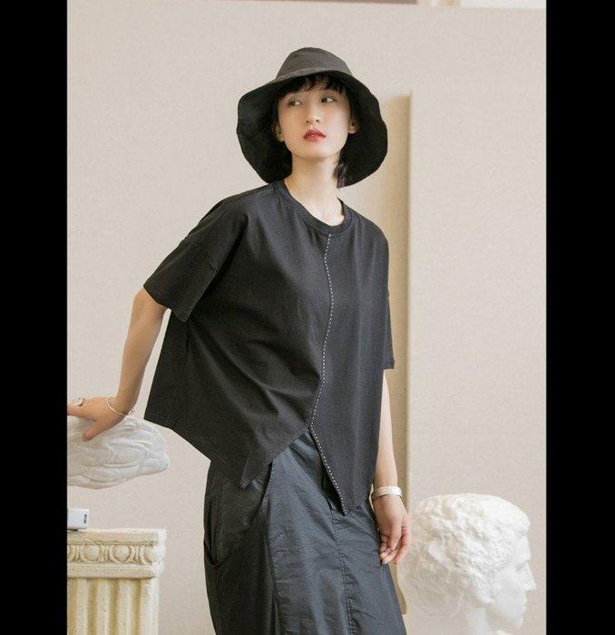 好棒棒衣舍_夏季虛線設計燕尾缺口寬鬆T恤上衣_都會時尚感