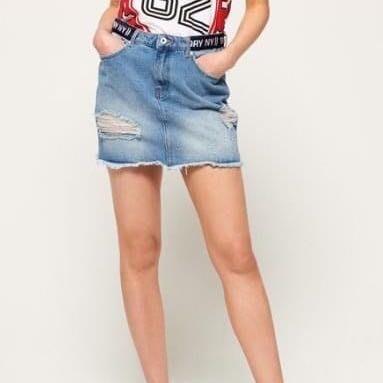 Superdry 女生刷破設計丹寧牛仔短裙-M號