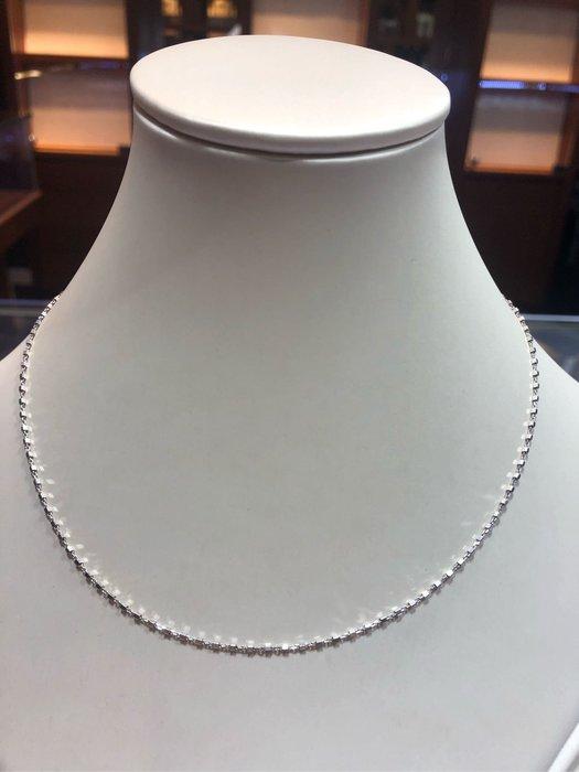 義大利585 14K金項鍊,白K金顏色漂亮閃亮質感超棒,超值優惠價6760,標準長度40公分,0.95錢