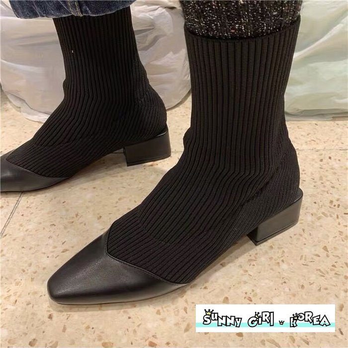 正韓襪靴*Sunny Girl*韓國代購尖頭拼接粗跟針織套筒短靴馬丁靴 2019九月新款 - [WH1362]
