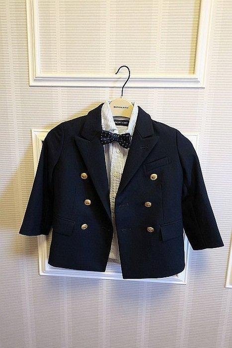 *Beauty*RALPH LAUREN深藍色羊毛西裝外套+襯衫+領結 不拆賣 100號