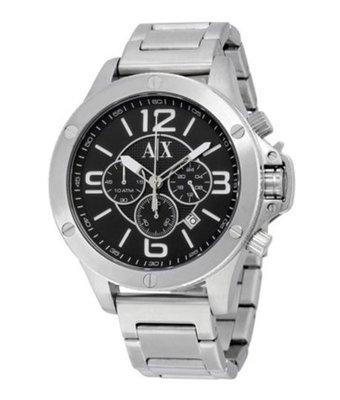 Armani Exchange 三眼 黑色 指針 不鏽鋼男錶 AX1501